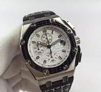 JFFactory ETA7750 otomatik mekanik kronometre safir cam 42mm * 14mm beyaz renk ile ince çelik kasa