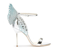 Summer Metal Butterfly Wings Women Wedding Shoes Sexy Open T...