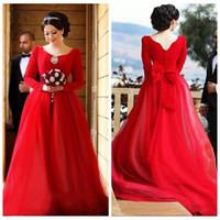 Mangas largas Rojo 2020 Una línea de vestidos de baile musulmanes Tulle del tren del barrido del partido de tarde Vestidos Largos Vestidos de Árabe Soiree