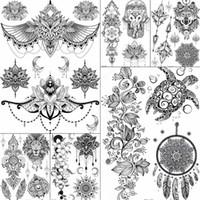 Femmes Fille Grand Bras Hibou Faux Tatouage Temporaire Mandala Fleur Henné Inde Tatoo Autocollants Personnalisé Tortue Noire Tatouages Filles