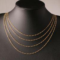 Moda 18 K altın kaplama ve 925 ayar gümüş kaplama 2mm Geniş Ağır Figaro Kolye Kadın Zincirleri erkek
