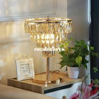 Modern Avrupa Kristal Masa Işık K9 Kristal Modern Altın Renk Kristal Masa Lambası Lüks Lustres De Cristal Masa Lambası Ev Lambader
