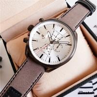 Nueva arrrival marca de moda hombres relojes diseño único Correa de cuero genuino cronógrafo movimiento de cuarzo dz reloj deportivo casual reloj de lujo