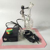 Dnail Portátil PID Coil Aquecedor Kit Caixa Controlador Temp Com Grosso Reciclador de Plataforma de Petróleo Bongo de vidro Bacia de vidro da tubulação de água Para Fumar