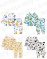 Coton bébé Pyjama d'été anti-moustiques Vêtements Costume enfants garçon filles Cartoon T-shirt imprimé + Pantalons Tenues Childs Vêtements Respirant E31005