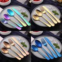 Ensemble de coutellerie délicate en acier inoxydable plaqué coloré couteau couteau fourchette ensemble Vaisselle vaisselle Set cuillères à café remuer cuillère à café 4pcs / Set