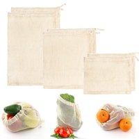 Cotton Mesh Bag degradável fruto legume supermercado sacola reutilizável de algodão de malha Grocery mão Totes sacos de armazenamento IIA227