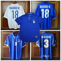 Retro 1996 1997 1998 Italy soccer jerseys MALDINI Rossitto Nesta Albertini BAGGIO R. DEL PIERO Torricelli 96 98 Retro football shirt 2XL