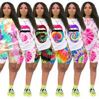 Kadınlar Dudak Baskı Eşofman Kravat Boyası Iki Parçalı Set Kısa Kollu Tee-Shirt + Mini Şort Rahat Kıyafetler Yaz Giyim Spor Jogger Suit 3190