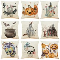 Happy Halloween Linen Cushion Covers Home Office Sofa Square...