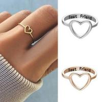 فتاة النساء أزياء أفضل صديق الجوف حب القلب خواتم حلقة الصداقة مجوهرات معدنية هدية