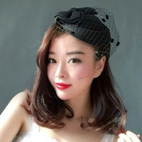 Знаменитости Ретро сетчатая марлевая шляпа ужин вечеринка ежегодная тост одежды Cheongsam платье подиума в Cheongsam показывать маленькие верхние шапки женские головные уборы
