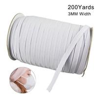 Disponibles 200 yardas de longitud 0.12 pulgadas de ancho trenzado banda elástica cordón de la banda de punto para coser la máscara de bricolaje colchas elásticas