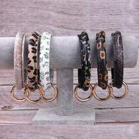 Top vente en cuir porte-clés bracelet Bracelet en faux cuir imprimé fleur léopard porte-clé bracelet Big O clé anneau dragonne bracelets bracelets