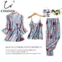 CINOON 3 шт Новой моды дама пижамы набор Цветочного Ситец Шелковой смесь Свежий Стиль пижама Установить M-XXL Loungewear CX200703
