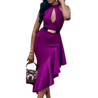 Sexy Bodycon Vestido de Fiesta de Las Mujeres de Longitud Irregular Volantes Cofre Hollow Out Ladies Clubwear Night Out Túnica Delgada Femme Robes Primavera