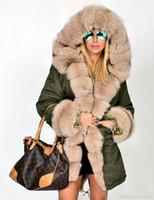 Larga de las mujeres chaquetas de invierno caliente grueso cuello de la piel diseñador abrigos Ejército de camuflaje militar de Down Escudo Parkas