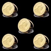 Arts and Crafts 5pcs Lot, 1967 Sudáfrica 1 Oz Gold Krugerrand Copia sin circulación Moneda, Artesanía de metal con efecto espejo, Regalo