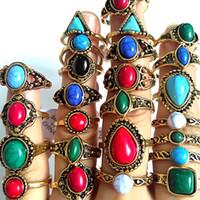 30 stks Groothandel Gemengde Turquoise Vrouwelijke Vrouwen Meisjes Ringen Cool Ringen Unieke Mode Gouden Vintage Retro Sieraden