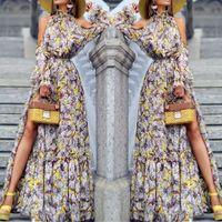 Böhmische Druck-langes Kleid vestidos de festa Mode für Frauen reizvolle lange Hülse weg vom Schulter gedrucktes Abend Turtleneck Kleider # 8