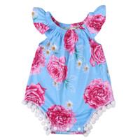 2019 пляж стиль летняя мода новорожденных девочек цветочный синий цветок вспышки рукав комбинезон боди Детская одежда наряд солнцезащитный костюм
