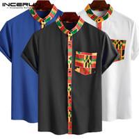 2020 camisa dos homens estilo étnico impresso Streetwear manga curta Tops Botão gola Vestuário africanos Dashiki Camisa INCERUN