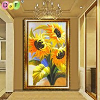Beautiful sunflower 5d Diy diamond painting set round embroi...