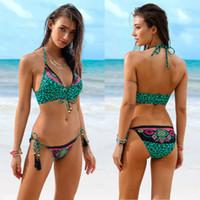 المرأة الجديدة تمرين رياضي البرازيلي مبطن ضمادة بيكيني مجموعة ملابس السباحة ليوبارد ملابس السباحة