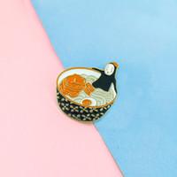 Japanische Anime Nudeln Emaille Pin temperamentvoll kein Gesicht Mann Cartoon Ramen Broschen Denim Hemd Revers Pins Abzeichen Schmuck 24pcs / lot großhandel