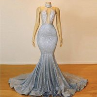 Sexy Silver Sequins Mermaid Prom Dresses 2019 Lace Appliques...