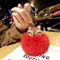 Güzel Kristal İnci Fox Baş Peluş Anahtarlık Yüzük İmitasyon Tavşan Kürk Kabarık Topu Alaşım Araba Anahtarlık Zinciri Çanta Cep Telefonu Charm Kolye