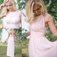 Новые розовые платья невесты Длинное шифоновое вечернее платье Одно плечо Платья для подружек невесты Одеяла подружки невесты Свадебное платье для гостей свадебного платья