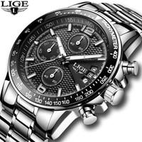 2018 Yeni Lige Erkek Saatler Top Marka Lüks Kronometre Spor su geçirmez Kuvars İzle Man Moda İş Saat relogio masculino LY191206