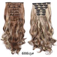 20 дюймов высокая температура волокна переплетения синтетические 16 клипы в наращивание волос Для женщин шиньоны ломбер коричневый волосы штук