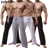 Pantalon pour hommes Yufeida hommes long longueur pleine longueur doux vêtements de nuit confortables pantalons sexy perdus décontracté joggeurs gym gym plein airpants