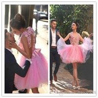 2019 Nuevo Pink Halter Neck Backless Vestidos de cóctel de flores en 3D Sin respaldo corto Vestidos de baile cortos Vestidos de regreso a casa de tul