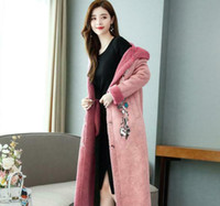 Womens Winter Suede Overcoat Removable Fur Collar Hooded Par...