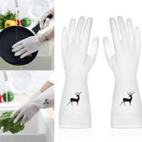 부엌 가사 장갑 PVC 워시 요리 방지 슬립 청소 장갑 여성 단일 스킨 고무 인쇄 패턴 장갑 2 2BD L1
