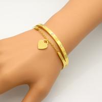 حار مجوهرات ماركة pulseira المقاوم للصدأ h سوار الإسورة ذهبي اللون القلب الحب علامة الحب سوار مجوهرات للنساء هدية