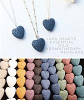 2019 Горячее сердце Лава Рок ожерелье 9 цветов Ароматерапия Эфирное масло Диффузор в форме сердца камень ожерелья