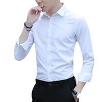 Langärmeliges weißes Hemd für Herren Einfarbiges, schlankes, professionelles Business-Hemd für Herren