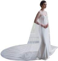 Elegante Tüll Hochzeit Kap Spitze Perlen 3m Brautkappen Hochzeit Jacke Hochzeit Braut Wraps Kap Cloak Schleier