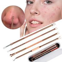 4pcs / set aiguilles de suppression de comédons acné or rose rose or pointée de pois comédon nettoyant beauté visage outils de soins propres
