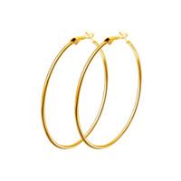 Vendita calda 40mm-80mm Big Hoop orecchino Nuova lucidatura esagerata Hoop Ear Loop Cerchio liscio per le donne Ragazze argento oro oro