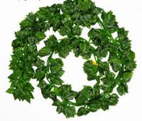النباتات 2M طويل محاكاة الخضراء اللبلاب ورقة وهمية كرم العنب زهرة الاصطناعي سلسلة أوراق الشجر أوراق الرئيسية زفاف حديقة الديكور GB512