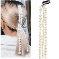 Kadınlar Boncuklu Saç Aksesuarları 33 CM Uzun İmitasyon Inci Püskül Kadınlar Için Saç Klip Kafa Zinciri Moda Takı