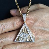 Новая мода 18K золото Белое золото покрыло Mens Hip Hop Pyramid Horus глаз ожерелье Twist цепи Iced Out Цирконий ювелирные подарки