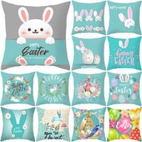 Ostern Kaninchen Ei Druck Pillowcase Kissenkissenbezug Ostern Blume Ei Frohe Ostern für Haus-Party-Dekor 45 * 45CM FFA3678