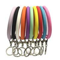 Силиконовые ключ цепь браслетов брелок ручные кольца браслеты ювелирные изделия мода запястье ключей подвесной спортивный фитнес автомобиль ключ держатель брелок клавиатуры
