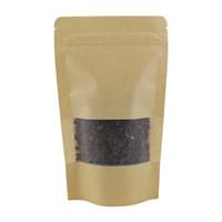 100PCS / 로트 식품 차 식사를 위해 다시 봉합 할 수있는 종이 포장 가방 곡선 코너 갈색 크래프트 종이 가방 애 스탠드 12x20cm